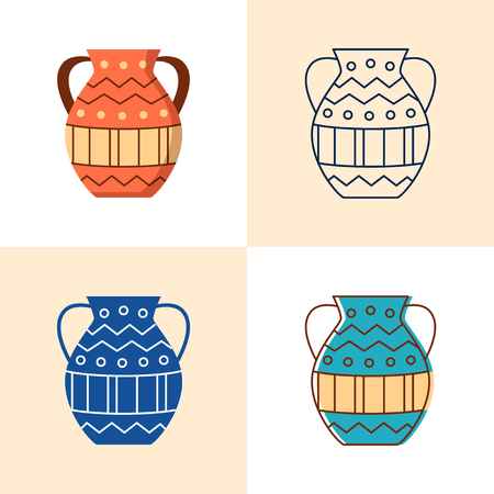 Ancient vase icon set in flat and line style