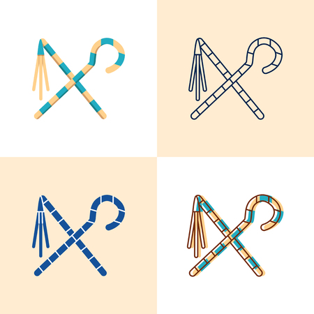 Egyptian crook and flail icon set in flat and line style