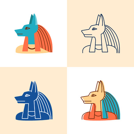 Anubis god icon set in flat and line style