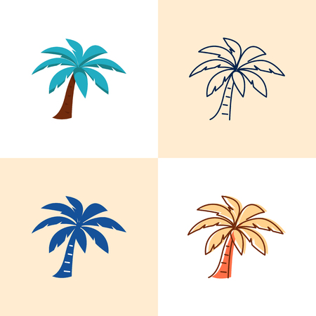 Palm tree icon set in flat and line style Ilustrace