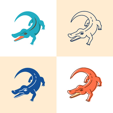 Crocodile icon set in flat and line style 일러스트