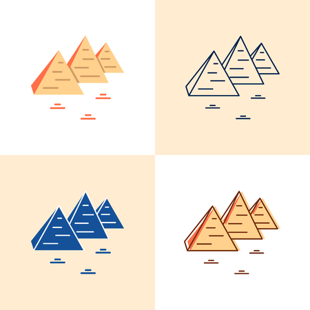 Egyptian pyramids icon set in flat and line style