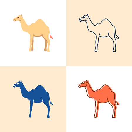Camel icon set in flat and line style
