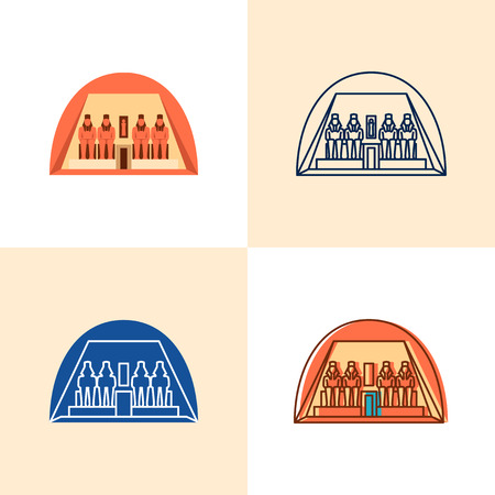 Egyptian temple Abu Simbel icon set in flat and line style 일러스트