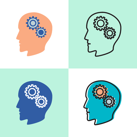 Psychology concept icon set in flat and line style. Illustration