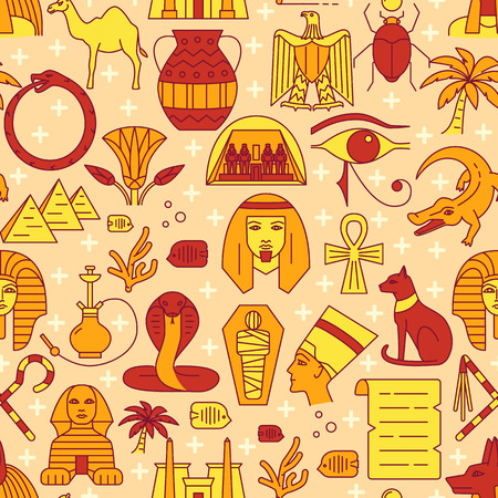 Egypt seamless pattern in colored line style Stock Illustratie