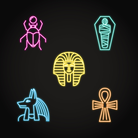 Egypt icons set in neon line style Illustration