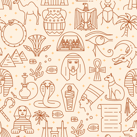 Egypt seamless pattern in thin line style