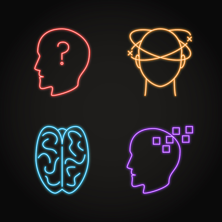 Set of neurological problems concept neon icons