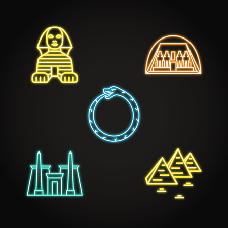 Egypt icons set in neon line style Ilustrace