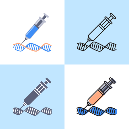 DNA changing icon set in flat and line style