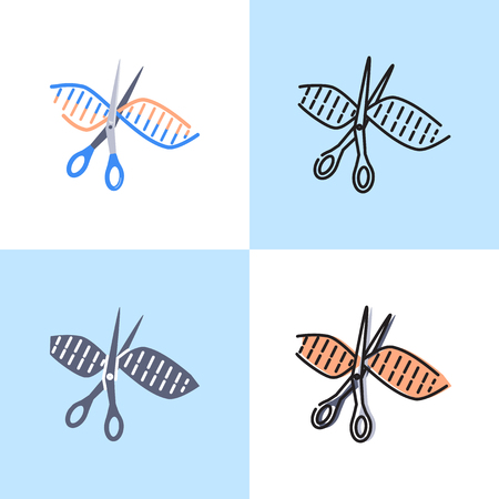 DNA spiral cut icon set in flat and line style