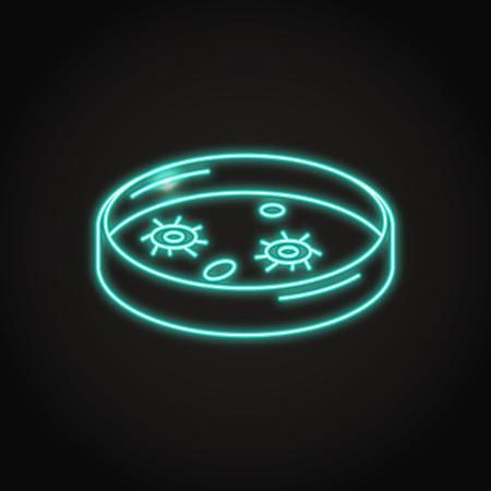 Petri dish icon in neon line style. Scientific laboratory equipment symbol. Vector illustration. Illustration