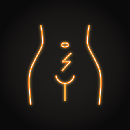Abdominal cramps and pain icon in neon line style. Woman with menstrual pain. Uterus and ovary disorders. Vector isolated illustration with editable stroke. Illustration