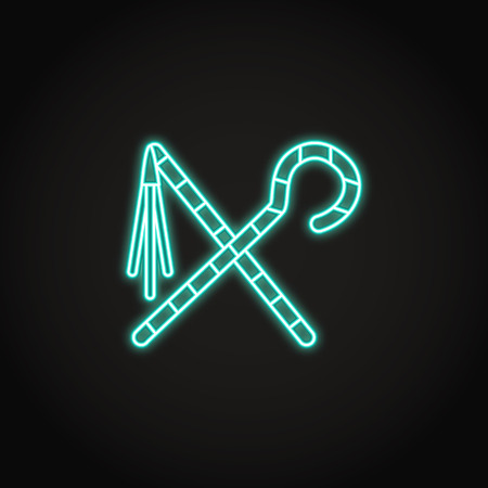 Egyptian crook and flail icon in glowing neon style