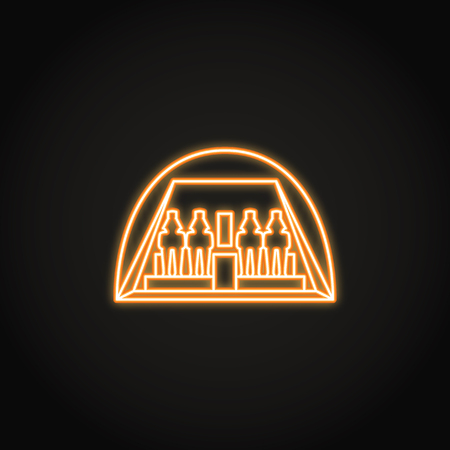 Egyptian temple Abu Simbel icon in glowing neon style