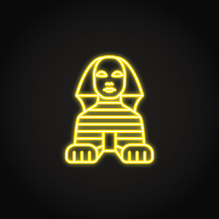 Egyptian Sphinx icon in glowing neon style