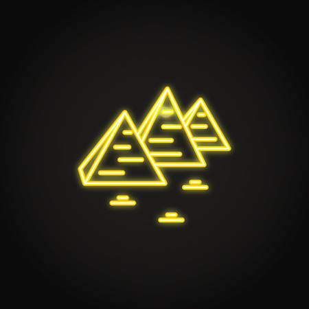 Egyptian pyramids icon in glowing neon style