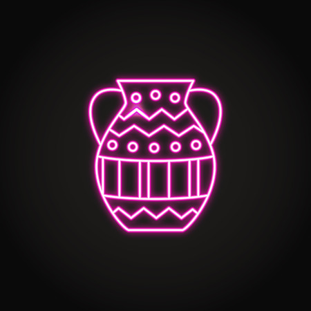Ancient vase icon in glowing neon style Stock Illustratie