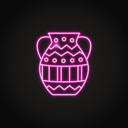 Icône de vase antique dans un style néon lumineux Vecteurs