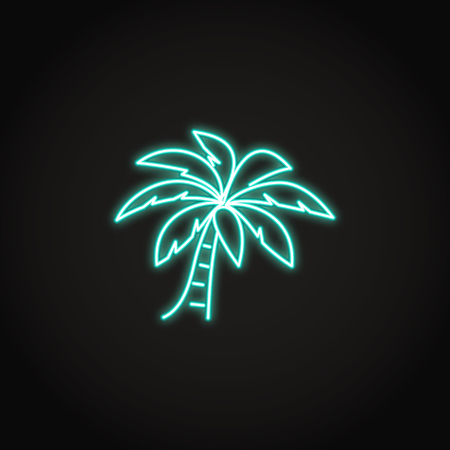Palm tree icon in glowing neon style Ilustrace