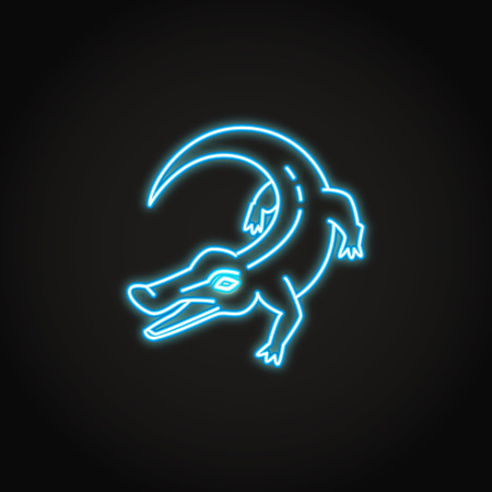 Crocodile animal icon in glowing neon style 일러스트