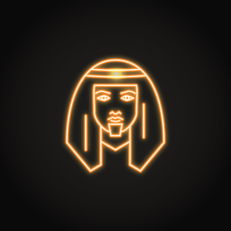 Bedouin man icon in glowing neon style
