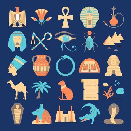 Egypt colorful icons set in flat style Ilustrace