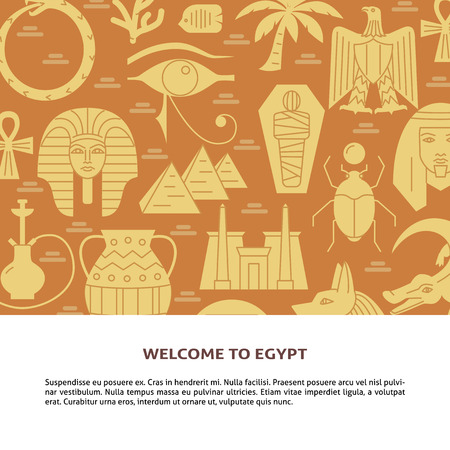 Flat style background with Egyptian symbols and place for text