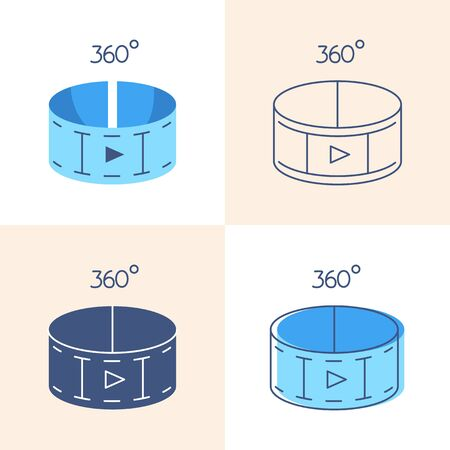 360 degree video concept icon set in flat and line style