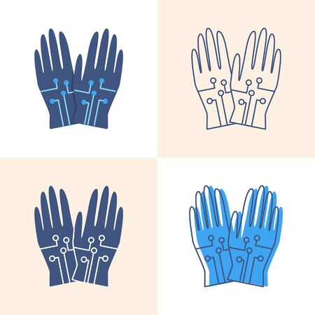 Wired gloves icon set in flat and line style