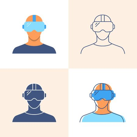 Virtual reality headset icon set in flat and line style Ilustrace