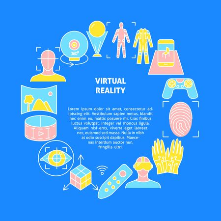 Virtual reality concept banner in colored line style Ilustrace