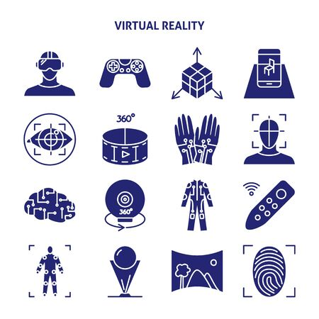 Virtual reality silhouette icon set in flat style Vector Illustration