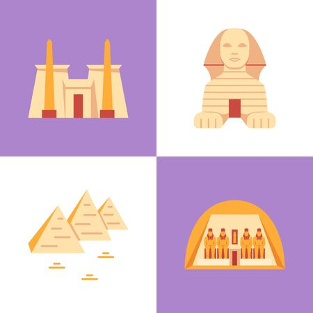 Egypt historical monuments icon set in flat style