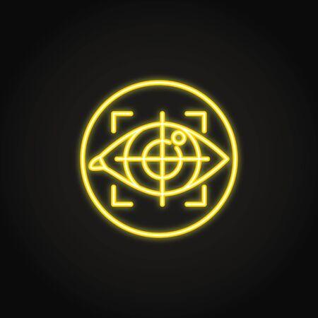 Icono de seguimiento ocular en estilo neón brillante Ilustración de vector