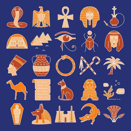 Egypt icons set in colored line style