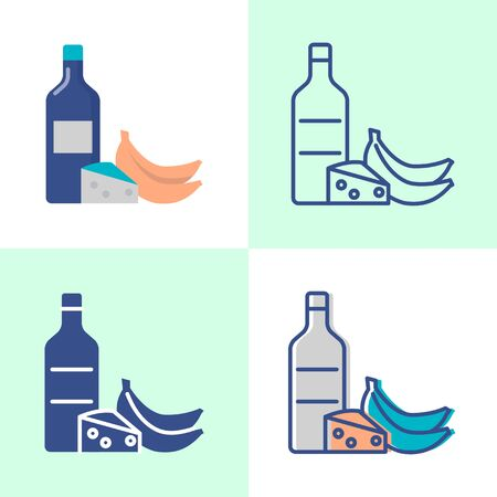 Histamine high food icon set in flat and line style. Allergic products symbol. Vector illustration. Illustration