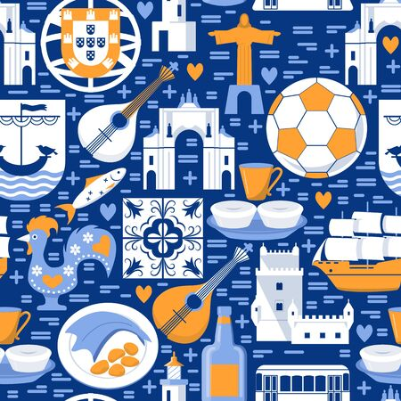 Portugal seamless pattern with icons in flat style Ilustrace