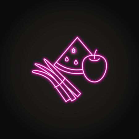 Vegetables and fruits icon in glowing neon style