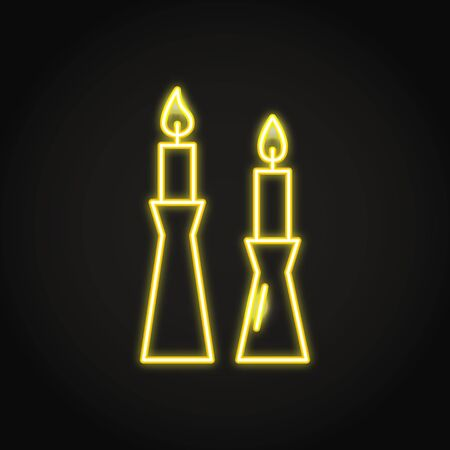Burning candles in candlestick icon in neon line style