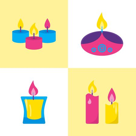 Colorful candle icons set in flat style