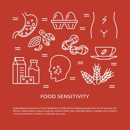 Food sensitivity concept banner in line style  イラスト・ベクター素材