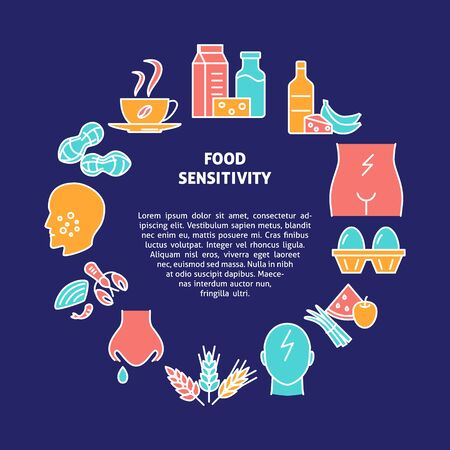 Food intolerance round concept banner in colored line style Illustration