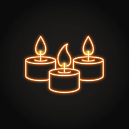 Tealight candles icon in neon line style. Bright light source with burning flame. Home interior decor. Vector illustration. Illusztráció