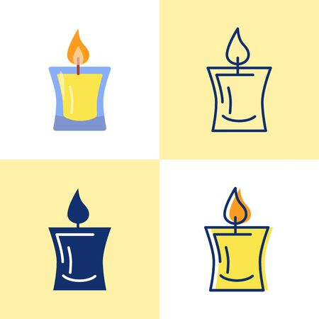 Decorative candle icon set in flat and line style
