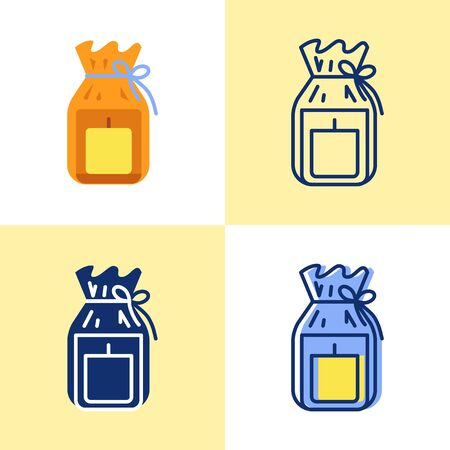 Candle in gift pack icon set in flat and line style