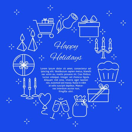 Happy holidays round concept banner in line style with place for text. Blue poster with celebration symbols including candles and gift boxes. Vector illustration.