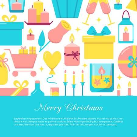 Merry Christmas celebration concept banner in flat style