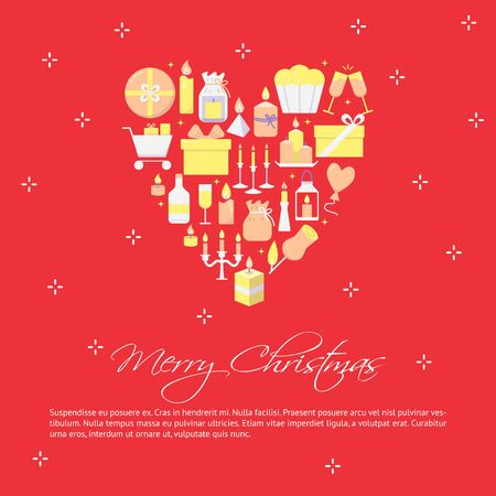 Merry Christmas poster template in flat style